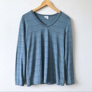 COLUMBIA Blue V-Neck Striped Long Sleeve Thermal